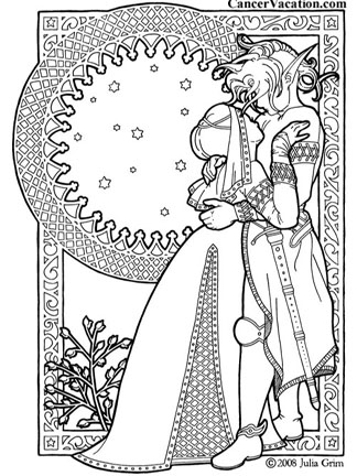 Fantasy couple coloring book page, click for printable version...
